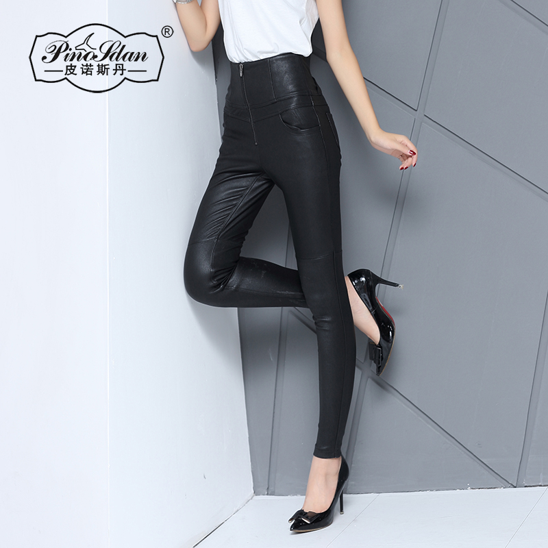New winter in europe and america slim stretch outer wear tight leather pants leather pants female trousers feet was thin pants female