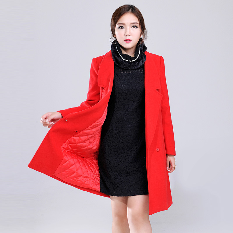 New winter jacket/jacket and long sections sleeved cardigan large size women bottoming single piece of clothing on the korean version of the conventional polyester