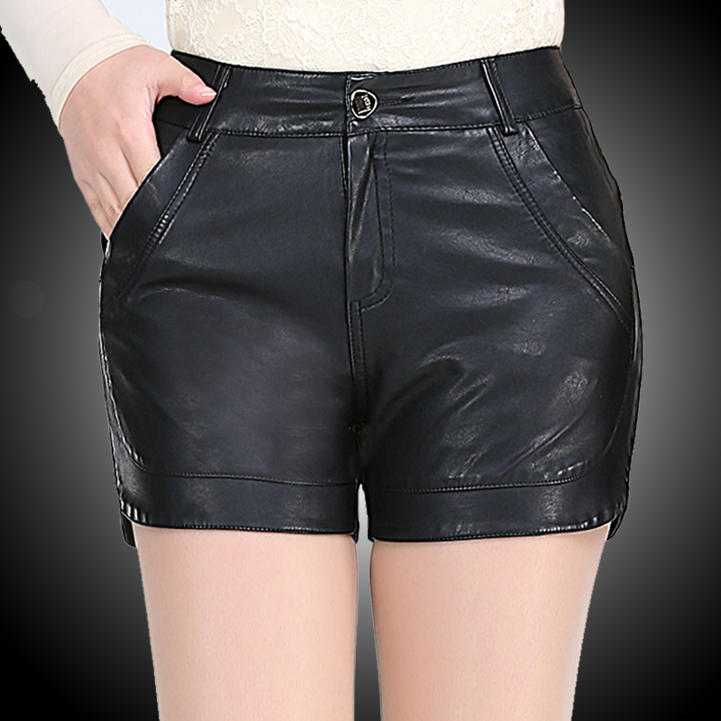 New winter leather washed leather pu leather waist was thin boots pants shorts shorts pants korean version of casual large size shorts