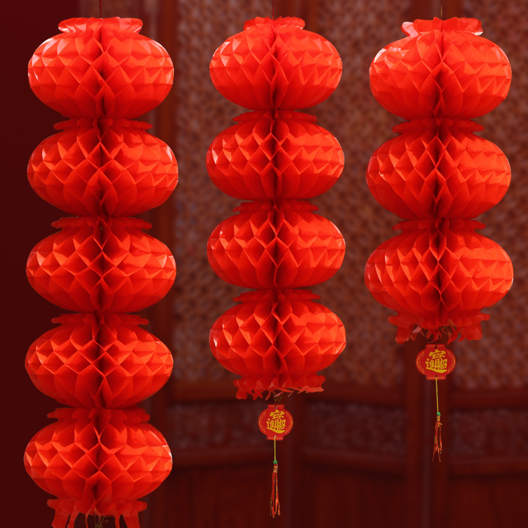 New year's day holiday festive supplies decorative red lanterns plastic paper lanterns red lanterns wedding lanterns