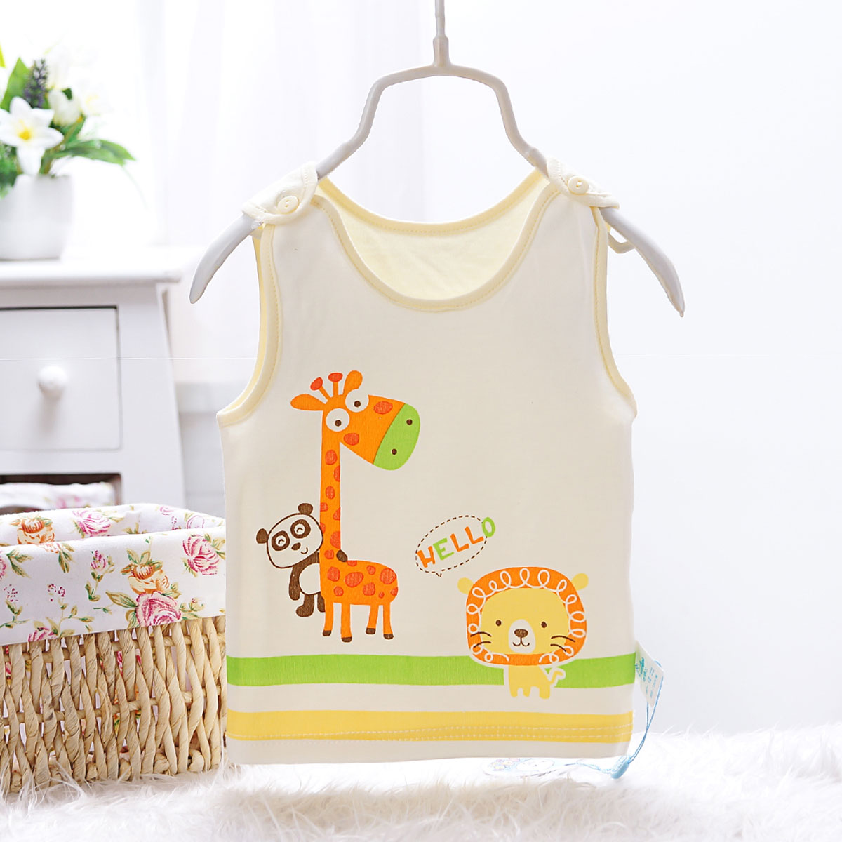 Newborn baby cotton baby vest vest for men and women shoulder buckle children's underwear vest sleeveless undershirt vest bottoming