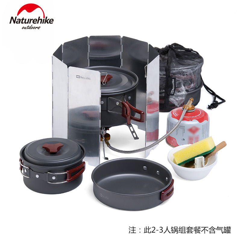 Nh portable barbecue picnic combination cookware outdoor camping cookware cookware cutlery packages two or three people