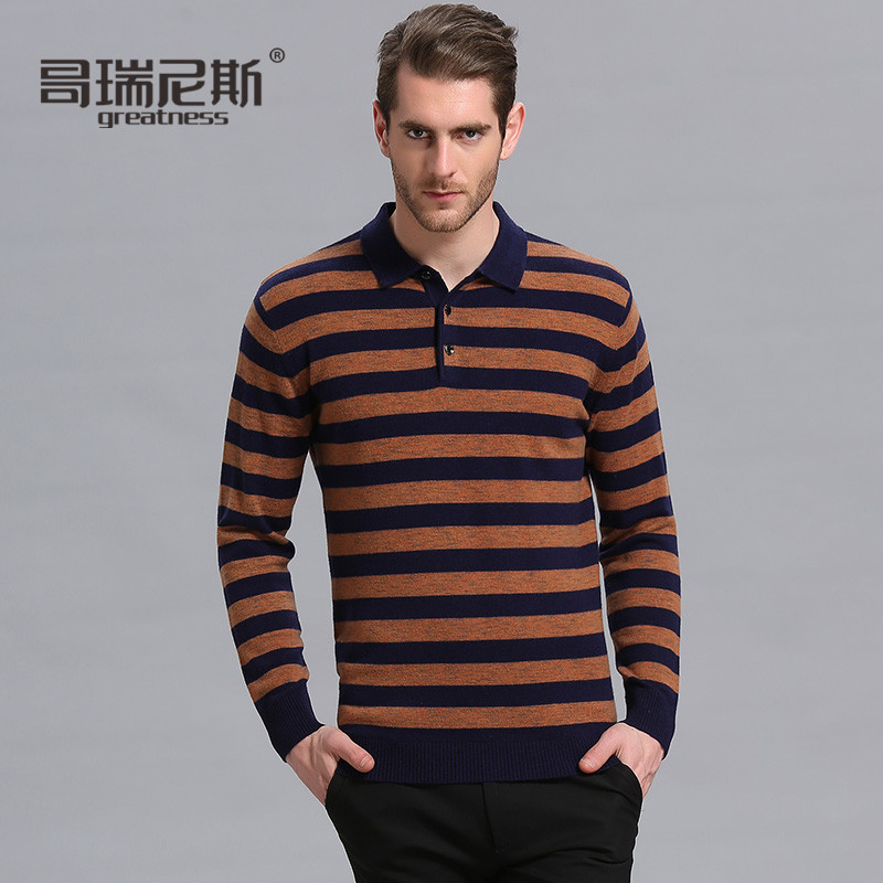 Niceå¥ç2016 winter lapel wool sweater men's casual striped sweater thin section hedging sweater