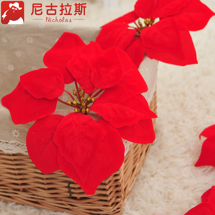 Nicholas christmas decorative accessories 20cm powder core red christmas flower christmas tree decorations