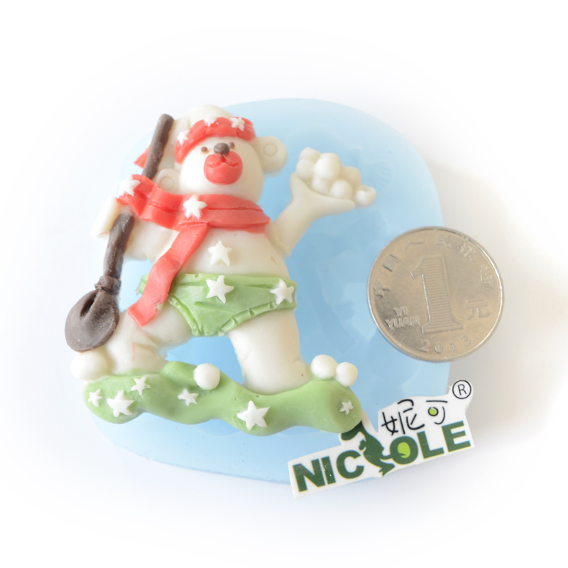Nicole diy baking skiing bear handmade chocolate silicone mold silicone mold fondant cake decorating mold