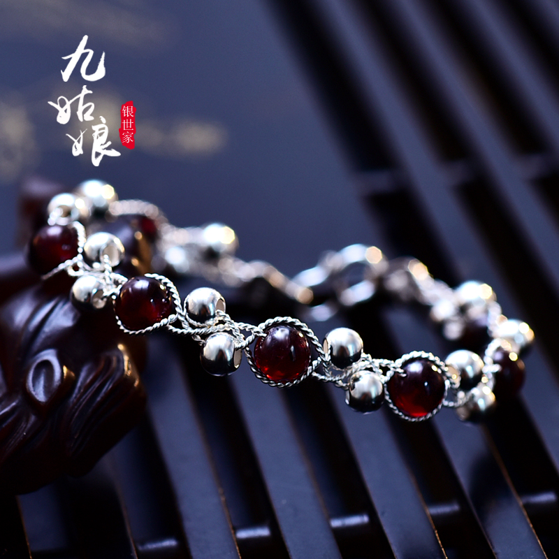 Nine girls lacoste original garnet 990 silver handmade silver silver bracelet female korean simple fashion sweet