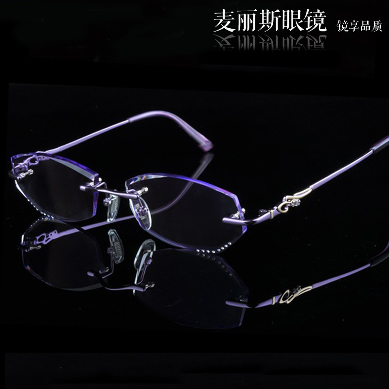 No female models diamond diamond trimming glasses rimless glasses myopia glasses frames with myopia chromotropic aging mirror lens dyeing