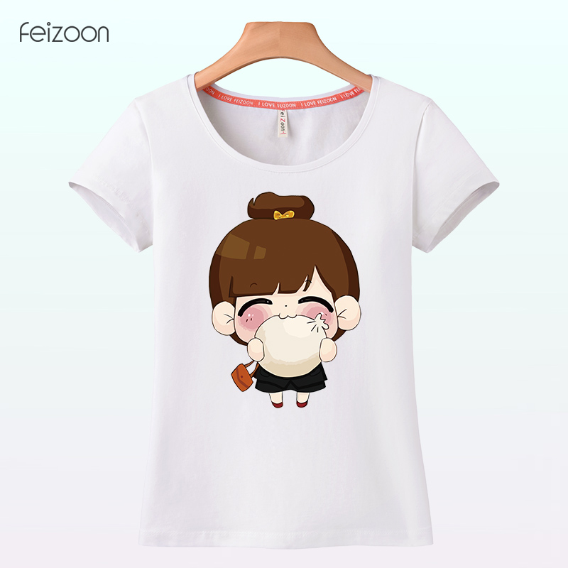 Non all goods girls summer cotton round neck short sleeve t-shirt large size women students korean version of the lovely waist sleeve