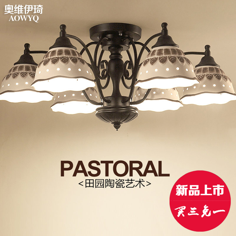 Nordic american country modern minimalist living room ceiling pastoral ceramic lamp bedroom lamp restaurant lights living room lamp lighting lamps