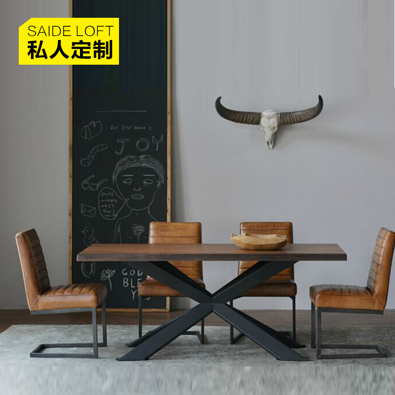 Nordic american iron retro dinette combination of solid wood dining table tea shop cafe tables and chairs dining table loft