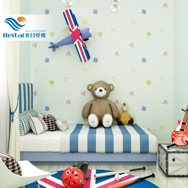 Northern taiwan wovens cute cartoon boys and girls children's room wallpaper imported wallpaper abc alphabet boys and girls