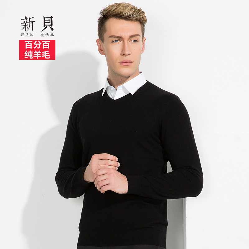 Novi winter new 100% pure wool men's long sleeve pullover sweater male korean slim v-neck sweater jixin ling