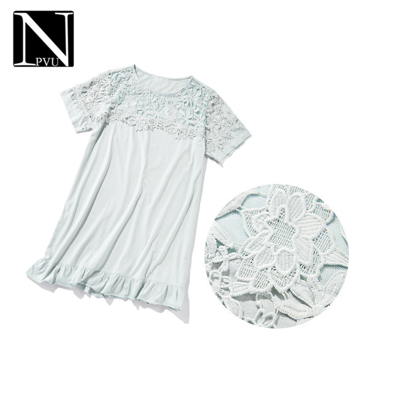 Npvu casual tracksuit female 2016 summer new fashion lace hollow round neck short sleeve nightgown sweet 9756