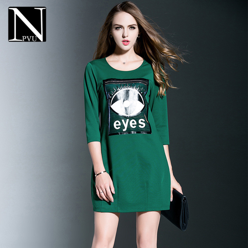 Npvu print dress female hitz 2016 european and american fashion simple wild female dress large size and comfortable 7805