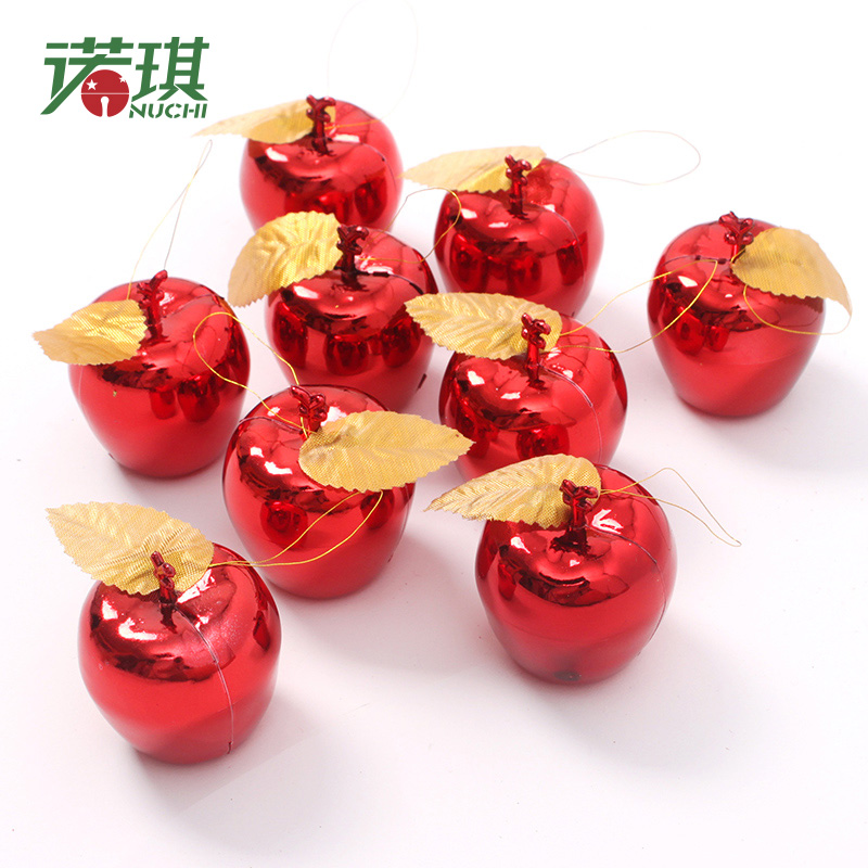 Nuoqi 5cm stereo red and gold christmas decorations christmas apple fruit safe christmas ornaments