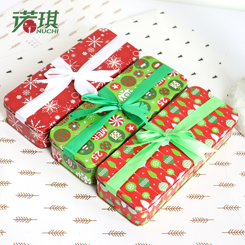 Nuoqi christmas bow christmas storage box tin box candy box candy jar picture pencil box