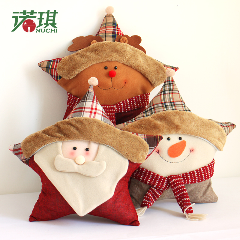 Nuoqi christmas decorations linen chair by pillow christmas santa claus christmas decoration stars