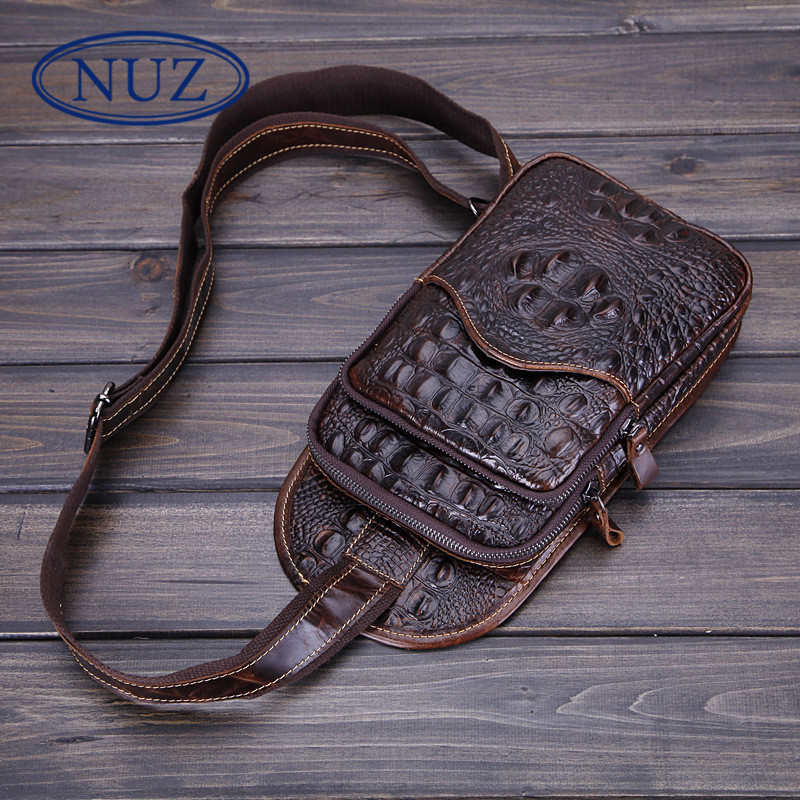 Nuz crocodile shoulder bag korean version of a solid color wave packet chest pack casual men's soft money first layer of wax leather bag 73 78