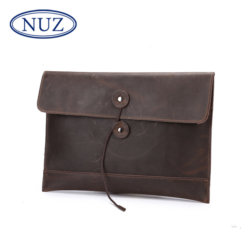 Nuz men bag korean leather clutch leather clutch bag envelope type strapless solid retro crazy horsehide leather briefcase 3920