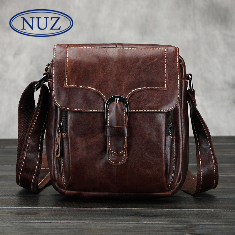 Nuz models first layer of soft leather men's dermatolyphic vertical oil wax leather messenger bag casual shoulder bag square bag 4158