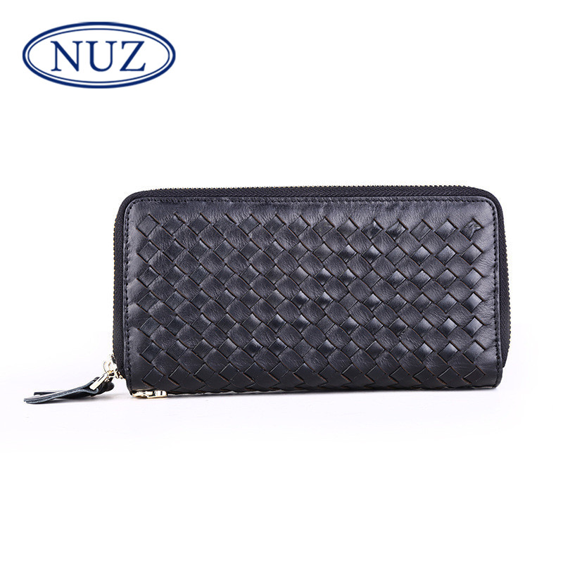 Nuz weaving new wallet 2016 new fashion casual long section of leather men clutch double zipper 9321
