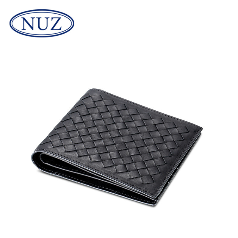 Nuz woven wallet card bit more cowhide leather sleeve short paragraph thin section 2016 summer casual and simple hiswallet 5155