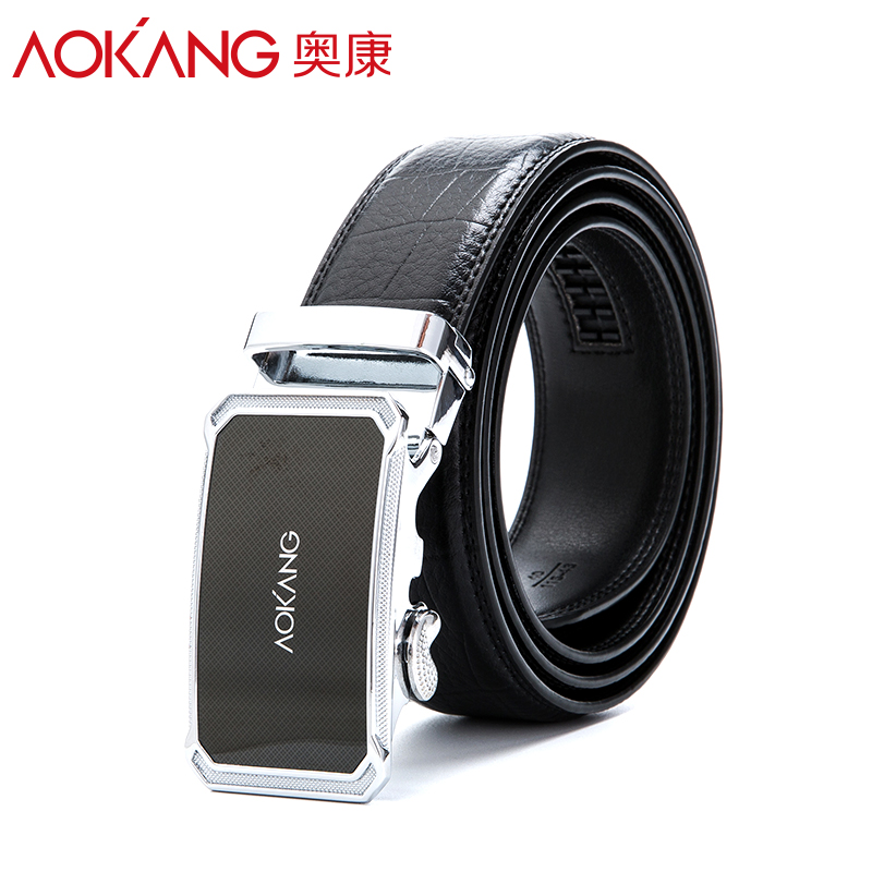 O'connell leather belt men's fashion trend leather embossed business automatic buckle alloy buckle the lap belt