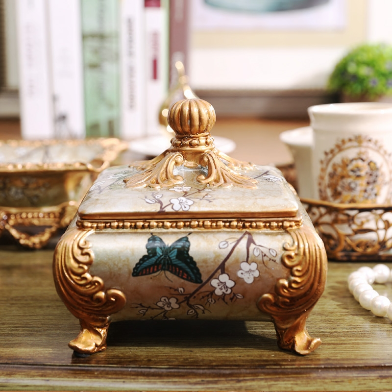 Oak manor european classical ornaments home fashion jewelry box storage dresser model room soft furnishings