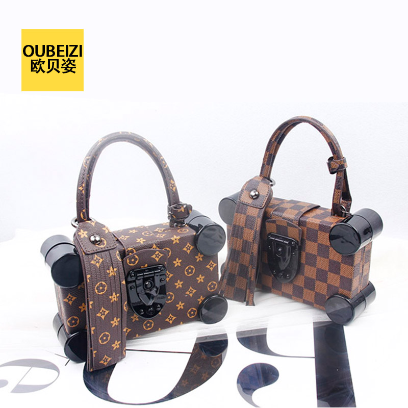 Oberoi pose 16 spring and summer new star of the same paragraph plaid handbag presbyopia bone lock box box bag