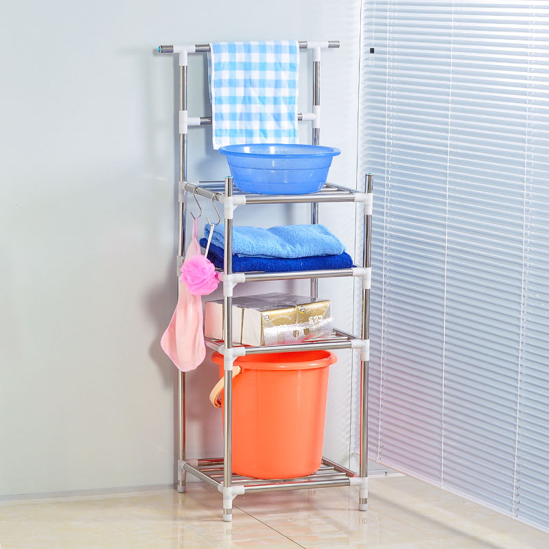 Odd home multilayer stainless steel washbasin heightening bathroom shelf bathroom towel rack shelving storage rack thickening
