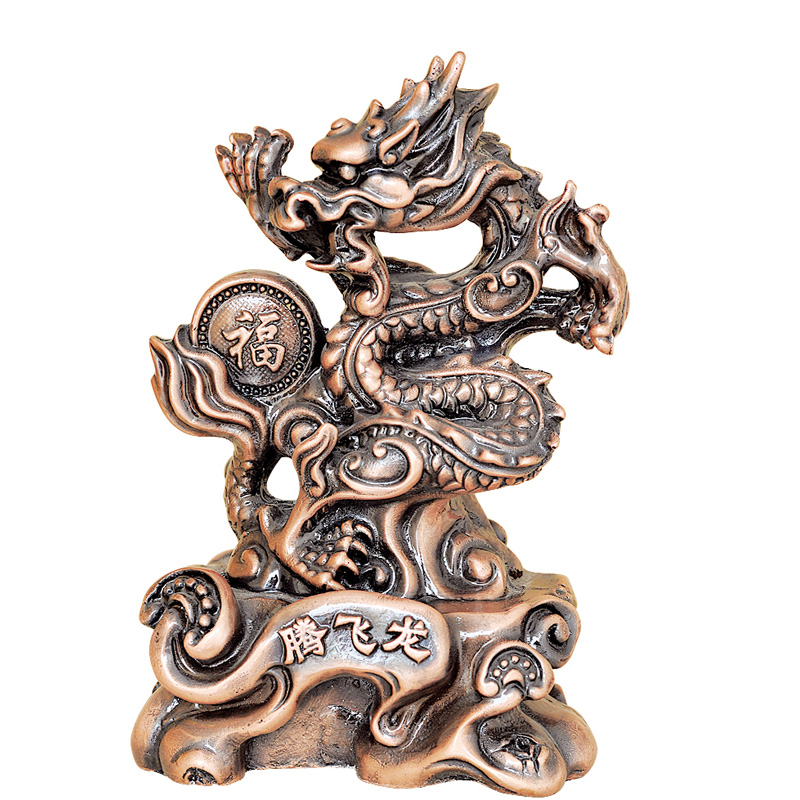 Off the dragon chinese dragon dragon dragon dragon painted resin sculpture ornaments imitation copper glass steel imitation copper dragon