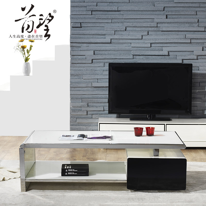 Office coffee table modern minimalist fashion white paint glass coffee table combination of steel piano paint