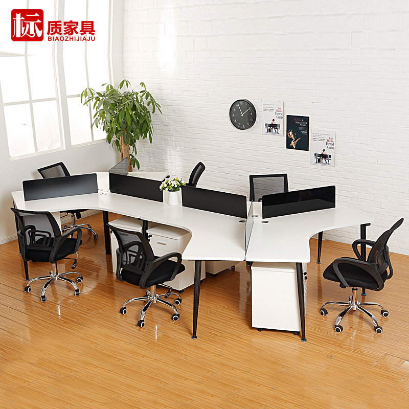 Office furniture minimalist modern steel office furniture six digit combination recruits desk screen deck computer desk