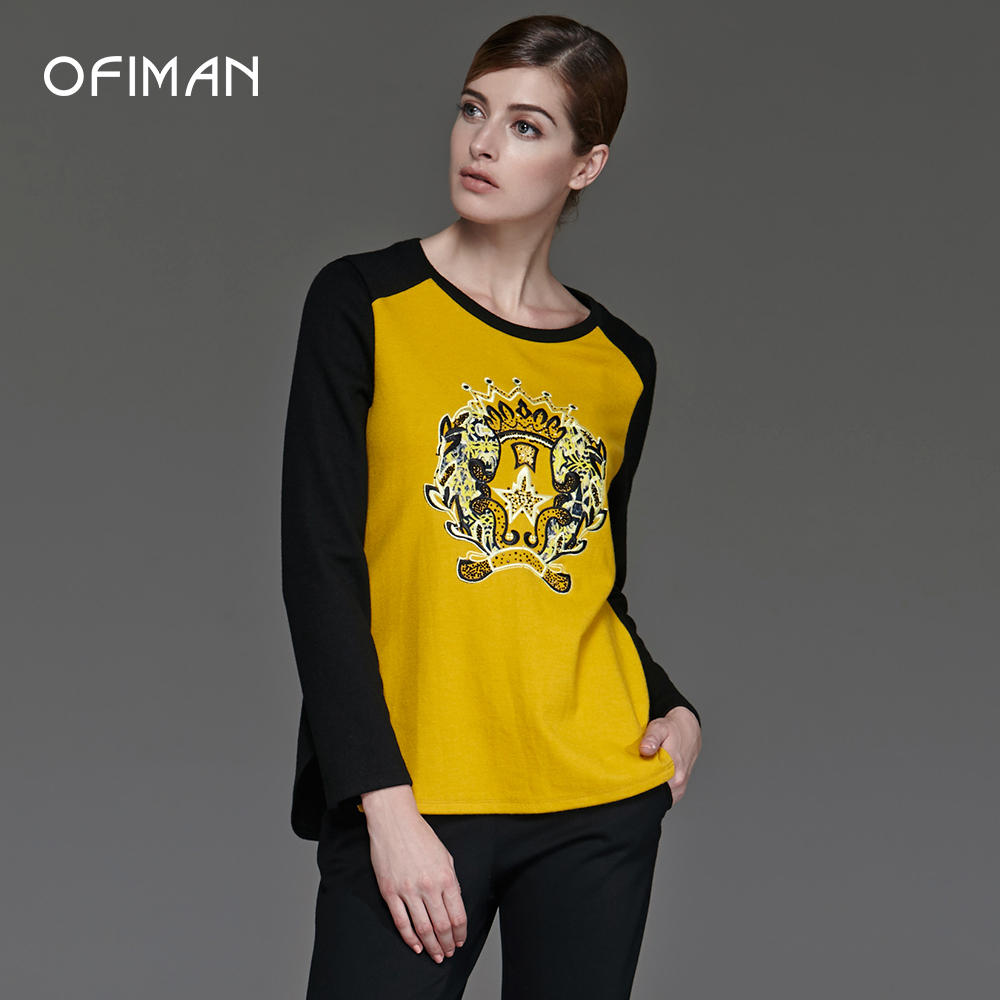 Ofiman奥菲曼2016 autumn and winter women yellow embroidered hot drilling stitching wool long sleeve pullover shirt