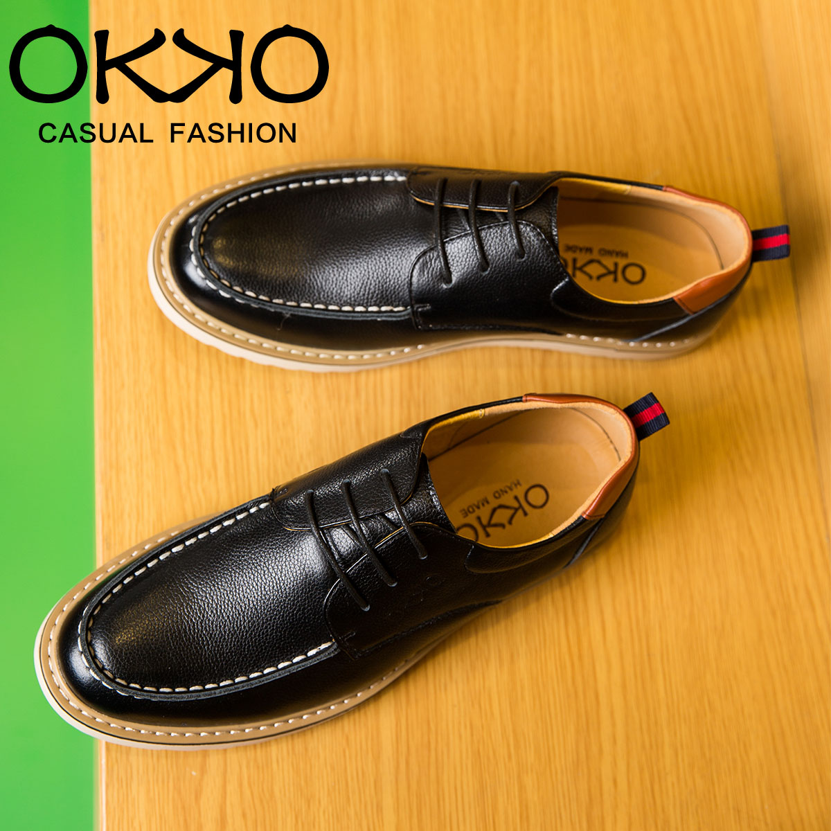 Okko autumn and winter new men's casual shoes to help low shoes lace england men's leather first layer of leather shoes influx of men