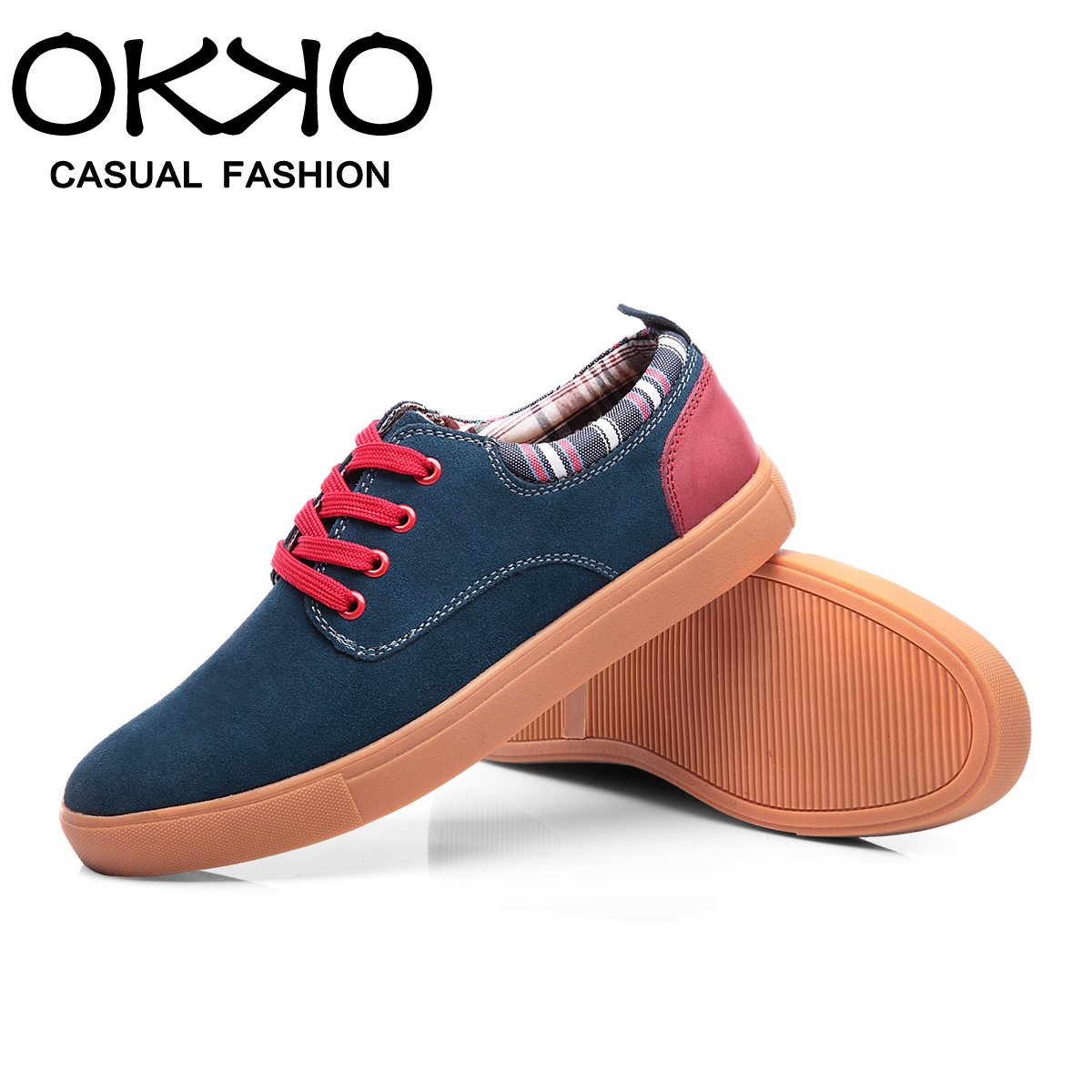 Okko summer new men's leather shoes men's casual shoes korean trend sport shoes suede shoes tide male british lun