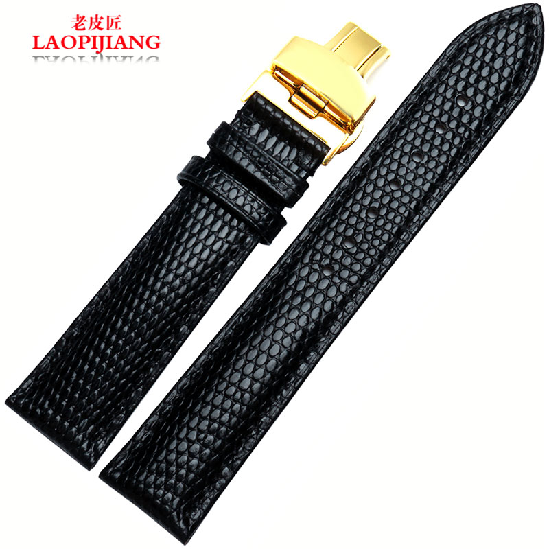 Old cobbler leather watchband male lizard grain leather strap bracelet applicable emperor camel | longines 20 | 22mm
