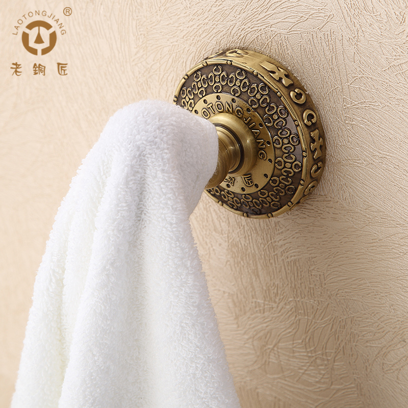 Old coppersmith whole european copper bathroom accessories bathroom hook coat hooks carved hook single hook GY10201