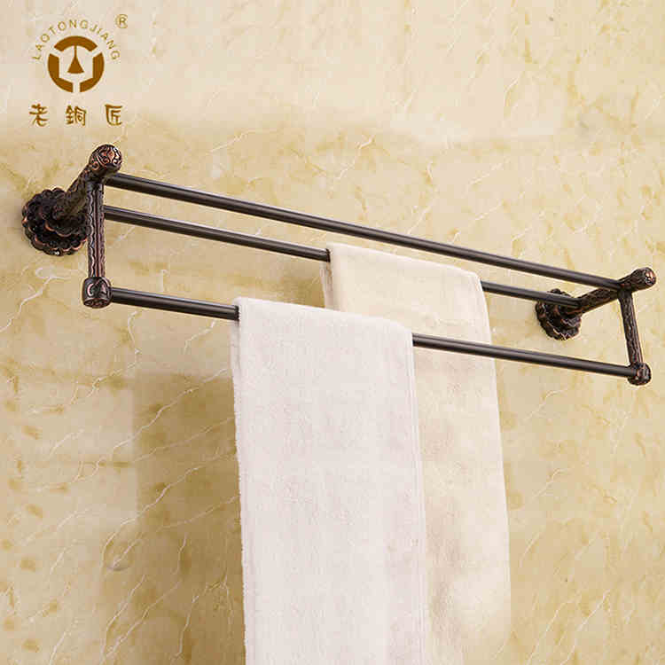 Old coppersmith whole european copper double towel rack height double rod towel bar full of antique copper black GM10702