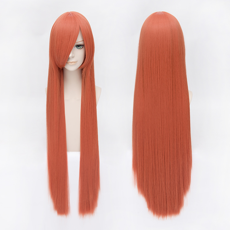 Old fashion dress wan with long straight hair cosplay wig gintama okita movie concluded kagura orange