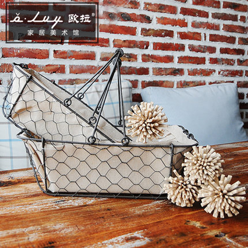 Olvy retro gray fabric wrought iron hanging basket storage basket storage basket european simple style detachable handle
