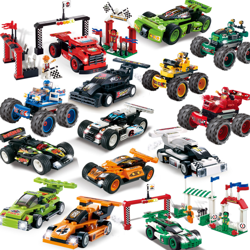 Oma dream team racing sports car back to power car model building blocks assembled children's educational play with boys