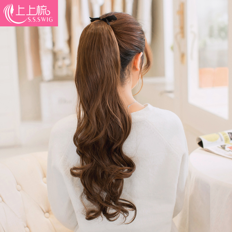 On the comb wig scroll tied ponytail style ms. ultra high temperature silk matte fluffy ponytail hair extension