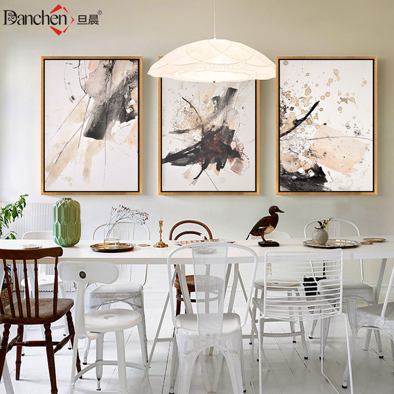 Once the morning modern abstract art decorative painting the living room bedroom dining hallway den hanging painting simple frame simple mural wall painting triptych