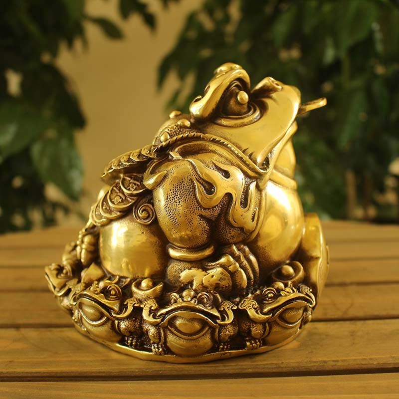 Open light copper copper tripod golden toad opening gifts feng shui ornaments lucky toad copper ornaments lucky toad