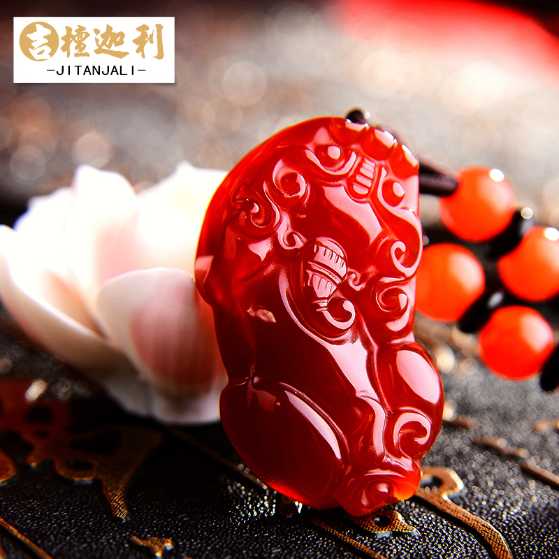 Open light red agate pendant necklace pendant brave men and ms. crystal jewelry