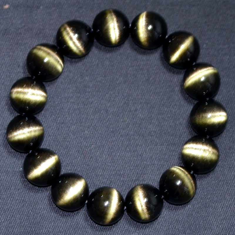 Opening double gold bracelet gold obsidian obsidian eyes double gold bracelets for men and women obsidian cat eye crystal jewelry