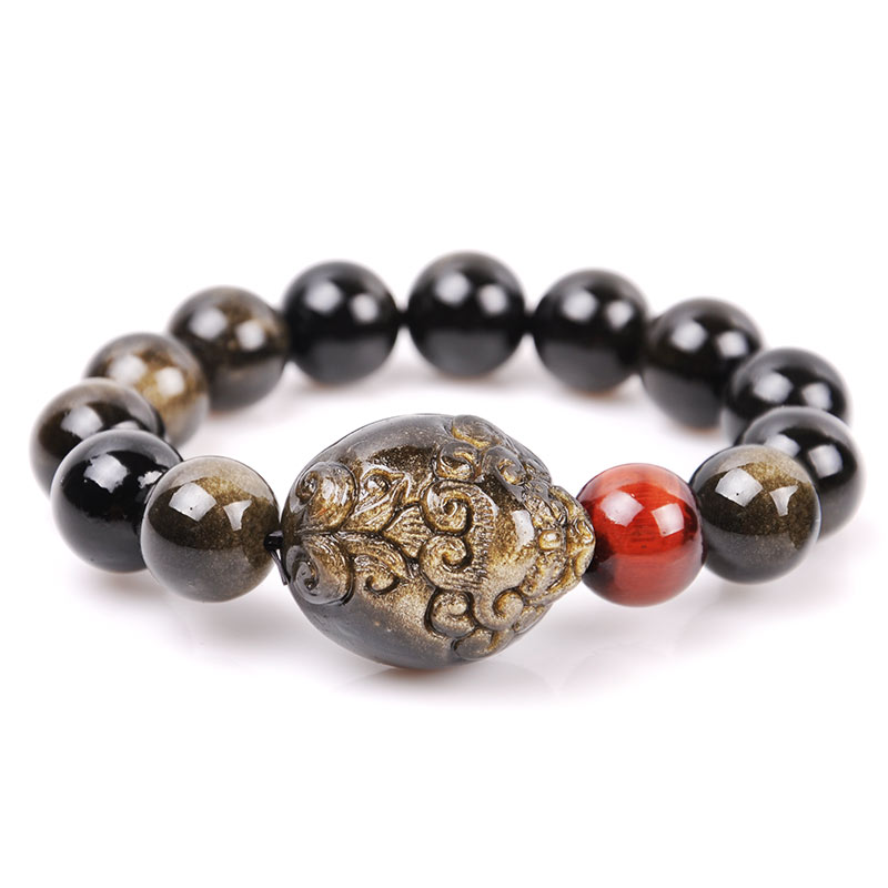 Opening of natural gold obsidian obsidian brave tiger eye bracelet men jewelry bracelets female birthday gift crystal