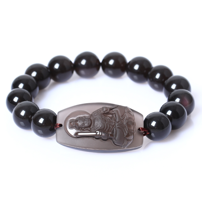 Opening of natural ice kinds of obsidian fudo patron saint bracelet buddha statue does not move is a chicken natal buddha patron saint bracelet