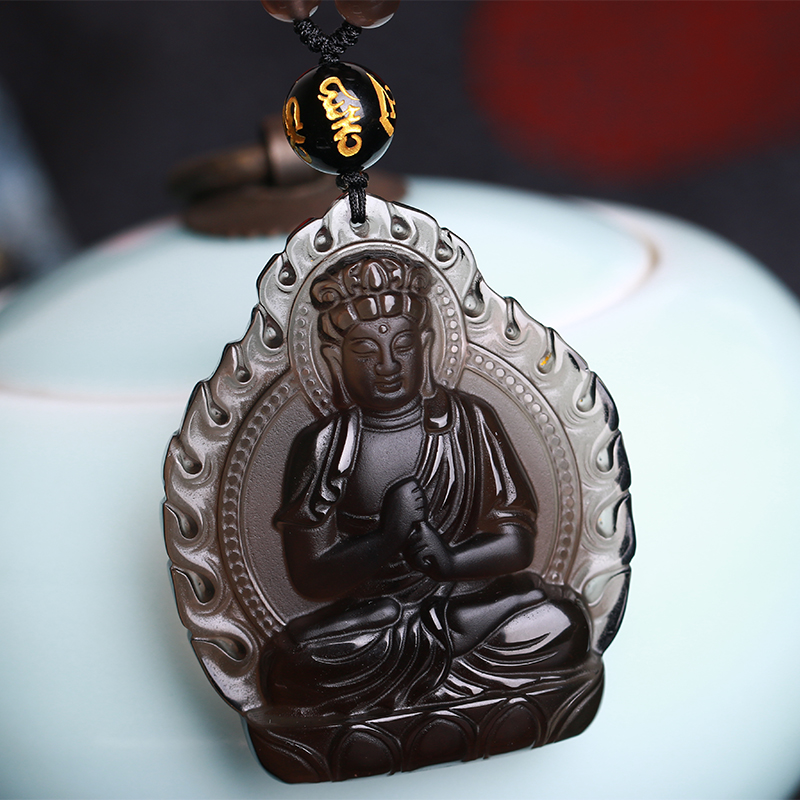 Opening of the ice kind of obsidian pendant big day tathagata buddha guanyin buddha male and female models sheep monkey natal buddha patron shipping